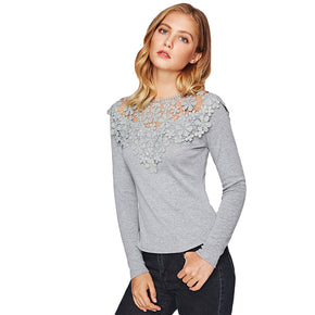 Grey Yoke Slim Fit Heathered Crew Neck Elegant T-shirt