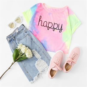 Happy Rainbow Pastel Tie Dye T-Shirt
