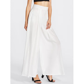 White Pleated Detail Palazzo Pants