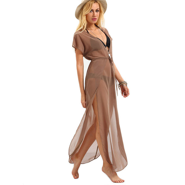 Plunge Neck Drawstring Waist Beach Cover up Maxi