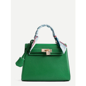 Green Metal Lock Design PU Shoulder Bag With Scarf