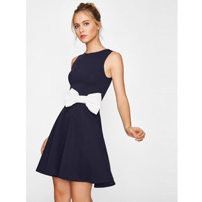 Navy Contrast Bow Embellished Fit & Flare Dress