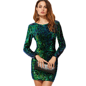 Korean Style Green Iridescent Long Sleeve Sequin Bodycon Dress