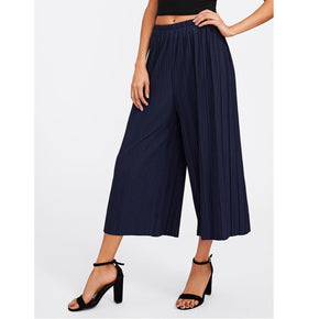 Navy Elastic Waist Pleated Wide Leg Pants
