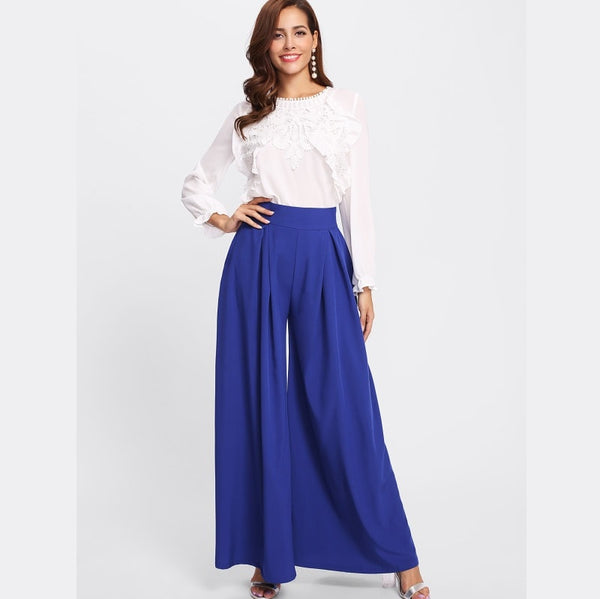 Blue Pleated Detail Palazzo Pants