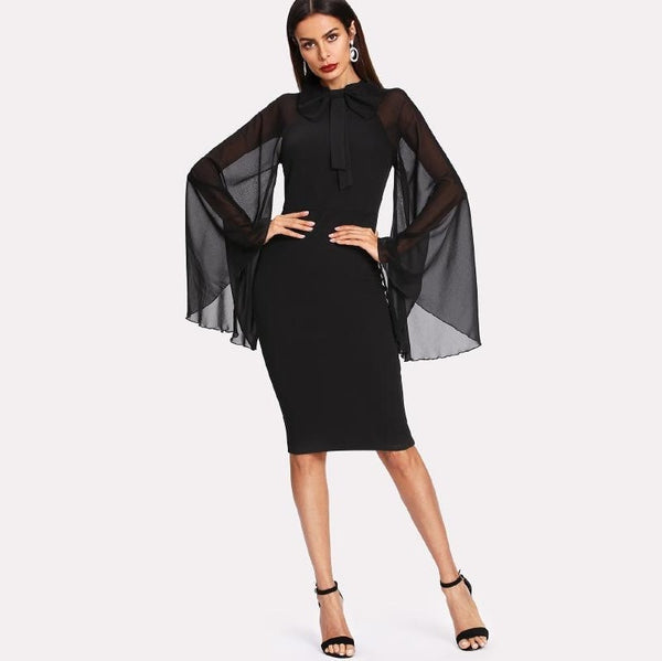 Black Bow Tie Neck Mesh Raglan Sleeve Pencil Dress
