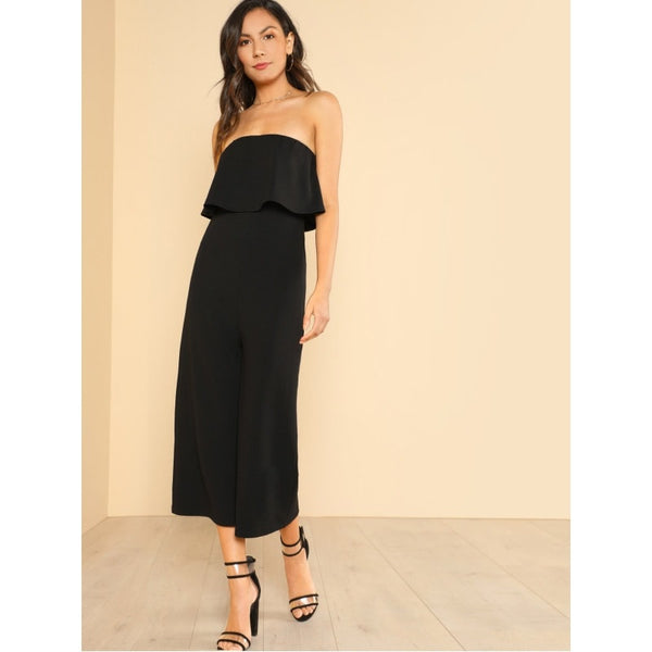 Black Wide Leg Flounce Tube Jumpsuit