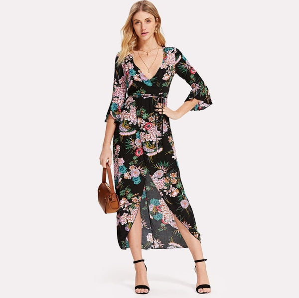 Black Self Tie Waist Floral Print Split Dress
