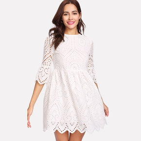 White Flounce Sleeve Lace Dress