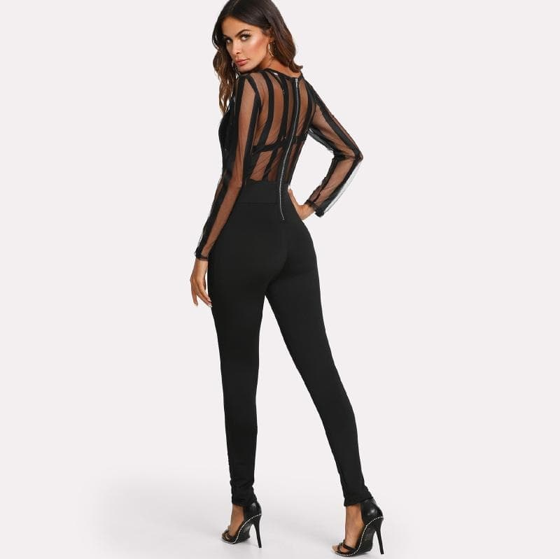 Black Zip Back Mesh Bodice Tailored Jumpsuit Without Bra