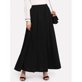 Black Full Length Solid Skirt