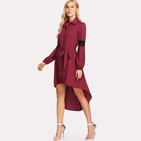 Burgundy Contrast Lace Dip Hem Shirt Dress