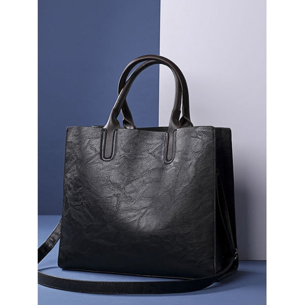 Black Square PU Tote Bag