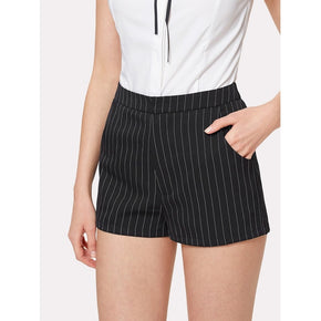 Black and White Vertical Striped Shorts