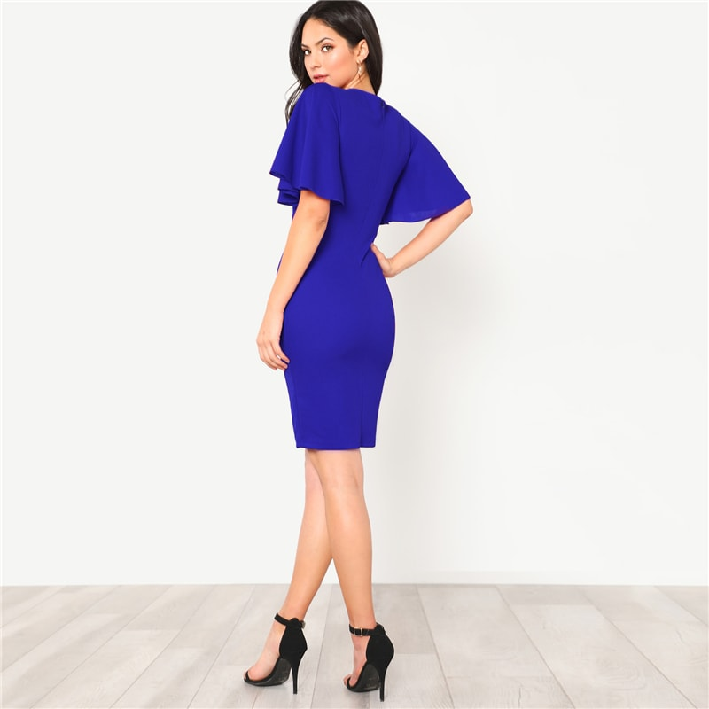 Blue Flutter Sleeve Zip Back Pencil Dress