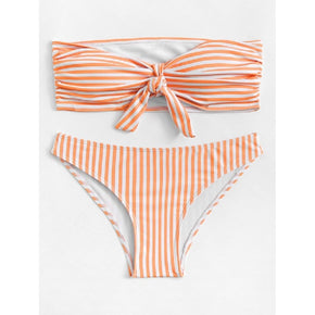 Orange Knot Front Striped Bandeau Bikini Set