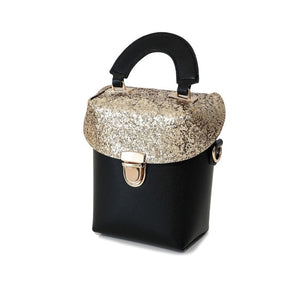 Two Tone Sequin Decorated Box Bag