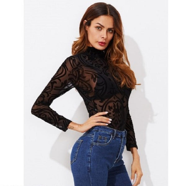Black Mock Neck See Through Jumpsuit