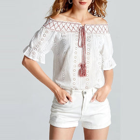 White Off Shoulder Hollow Out Self Tie Top