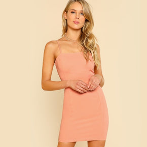 Pink Solid Cami Bodycon Dress