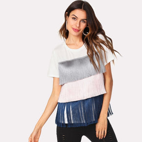Multicolor Layered Fringe Detail Tee