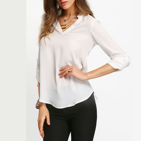Beige V Neck Long Sleeve Blouse