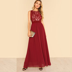 Burgundy Mesh Panel Flowy Dress