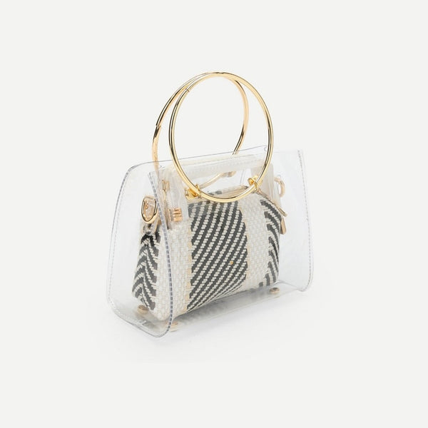 Black and White Striped Ring Handle Clear Bag With Inner Pouch
