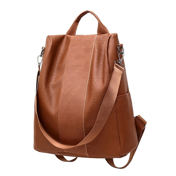 Brown PU Backpack With Convertible Strap