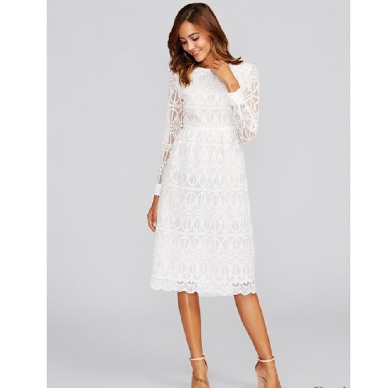 White Scallop Hem Embroidered Mesh Overlay Dress