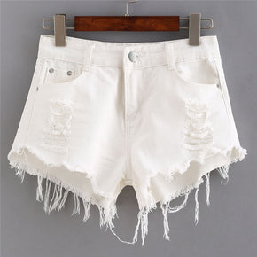 White Ripped Hem Denim Shorts