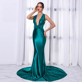 Green Convertible Deep V neck Backless Maxi Dress
