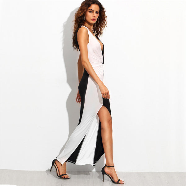 Black and White Contrast Deep V Neck Twist Front Slit Maxi Dress