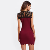 Burgundy Contrast Guipure Lace Shoulder Fitted Party Dress