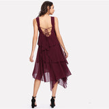 Burgundy Thick Strap Lace Up Low Back Layered Dress