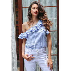 Blue and White One Shoulder Ruffles Striped Casual Blouse