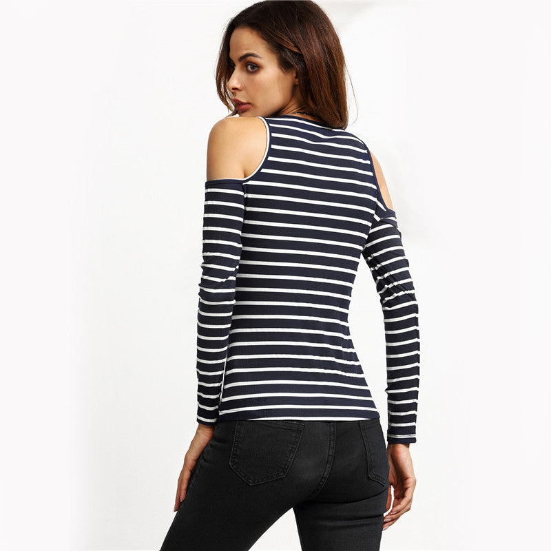 NAVY AND WHITE STRIPED OPEN SHOULDER RIBBED TEES