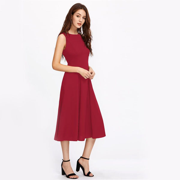 Burgundy Zipper Back Swing Midi Tank Dress