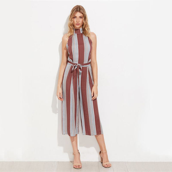 Vertical Brown Stripe T Back Wide Leg Jumpsuit