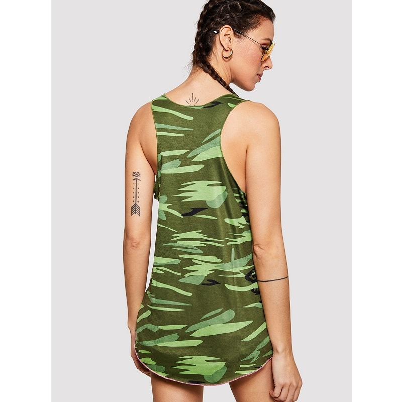 Army Green Flag Print Camo Tank Top