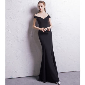 Black Boat Neck Mermaid Party Formal Dress