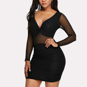 Black Mesh Contrast Deep V Neck Dress