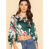 Multicolor Lantern Sleeve Tied Open Back Floral Top