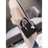 Black Faux Pearl & Tassel Charm Bag With Twilly Scarf