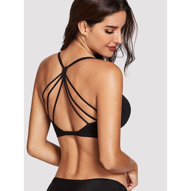 Black Caged Back Bralette