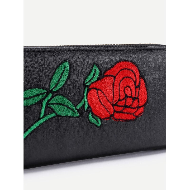 Black with Rose Embroidery PU Wallet