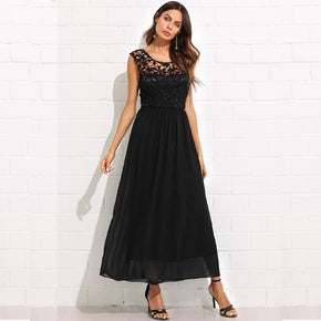 Black Guipure Lace Panel Open Back Flowy Dress