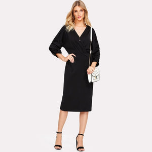 Black Gathered Sleeve Surplice Wrap Dress