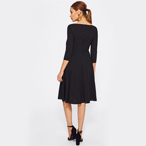 Black Laser Cut Neck Fit & Flare Dress