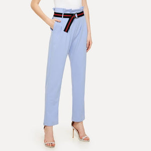 Blue Pleated Waist Cigarette Pants with Striped Belt